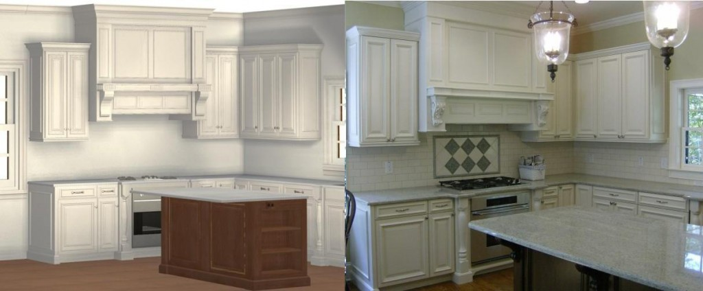 This rendering (left) helped sell the job. The client could see exactly what she was getting. The completed kitchen is shown at right.