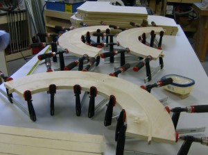 Each curved strip is glued up of 6 laminations