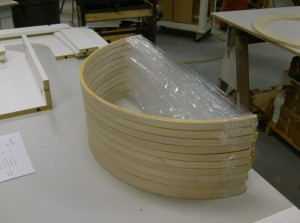 The glued up assemblies were kept in shape with stretch wrap until machining day.