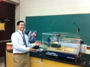 Jack Chen with his classroom's new ShopBot Desktop