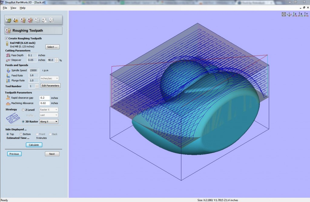 Roughing path for top surface using 3D raster strategy