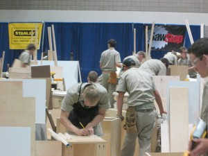 Cabinetmaking contest in action