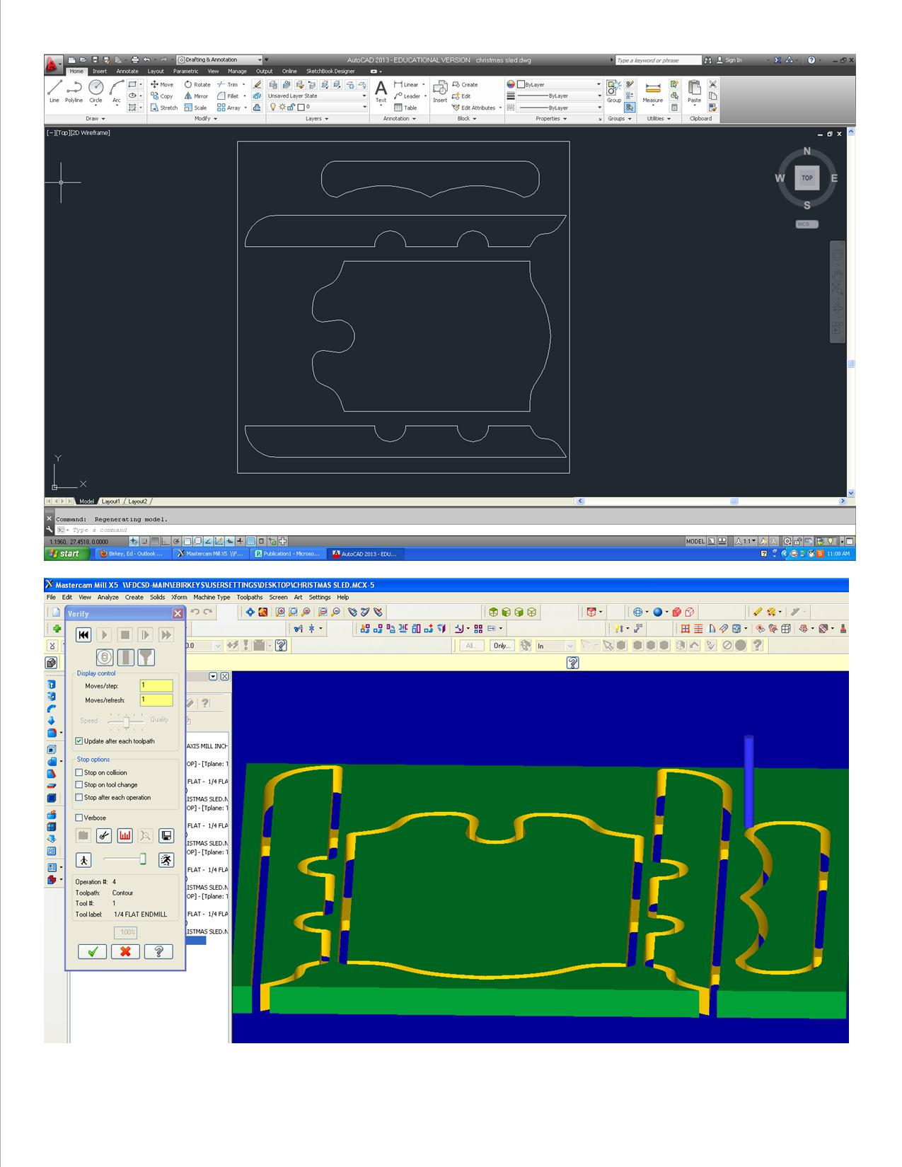 AUTOCAD AND MASTERCAM SCREEN SHOT OF PROJECT