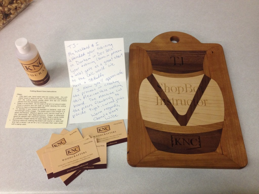 "The Willes' sent TJ Christiansen, their ShopBot instructor, a special present after training. The note reads in part, ""Your training (both in person and web) gave us a great start in the CNC world...I know you'll appreciate the process in creating this Mexican Vase cutting board. The machine cut the pieces flawlessly to provide tight, curved joins."""