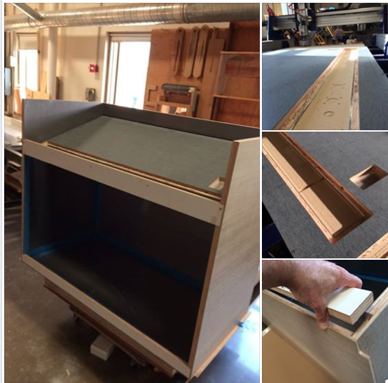 Assembly of display case, cut on the ShopBot