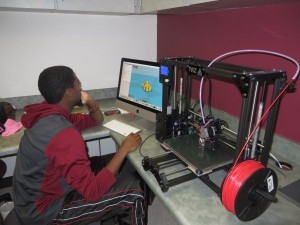 Kendall figuring out 3D printer