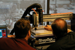 Patron using the ShopBot Desktop at Pikes Peak Library Maker Space