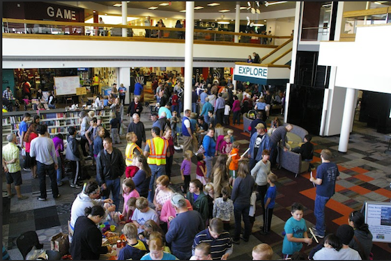 Attendees at Colorado Springs Mini Maker Faire, October 2014. At the Pikes Peak Library.