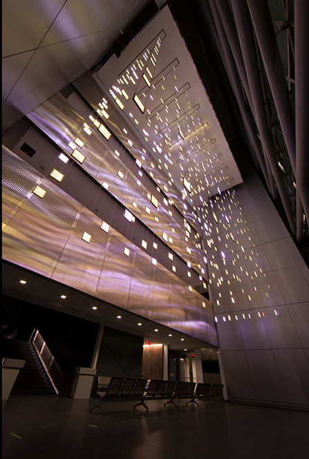 DIAMOND MATRIX, 2014 410 suspended light panels with acrylic and animated RGB-LEDs 50 x 54 x 24 ft ft 15.2 x 16.5 x 7.3 m Building architect: Perkins+Will New York Police Academy Queens, New York, USA