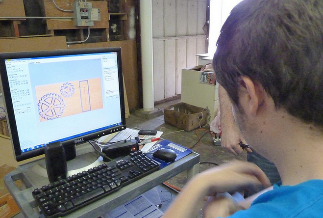 Student readies a gear design project for cutting
