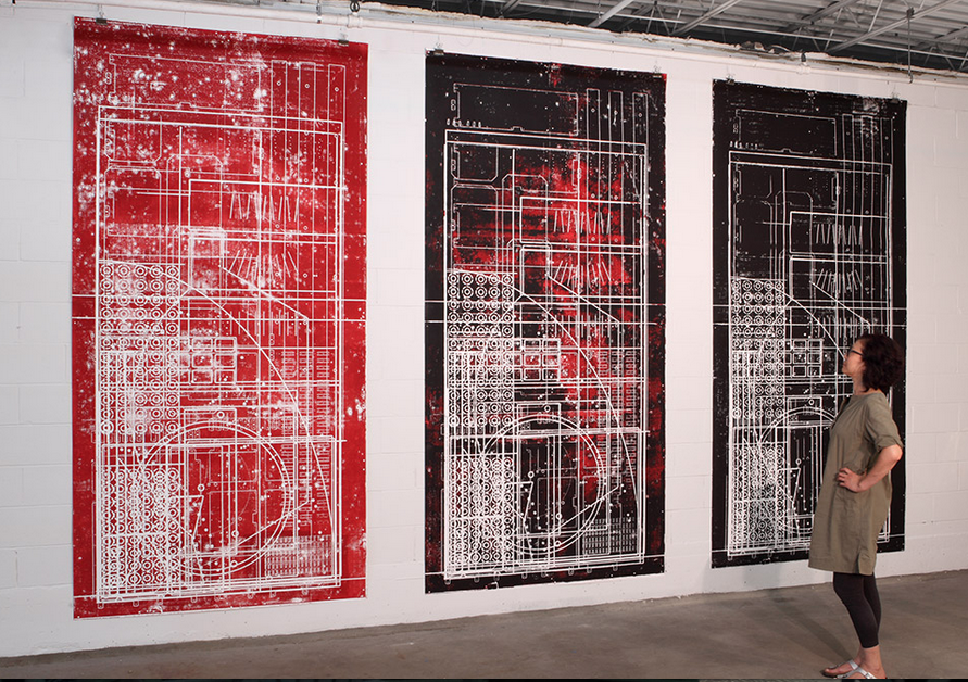 CNC PALIMPSEST PRINTS (August 11, 2014) 3 Monoprints, Hand-burnished on Fabriano Archival Paper with Oil Based Ink 5 x 10 ft 152 x 305 cm Artist Studio Bowling Green, OH ,USA