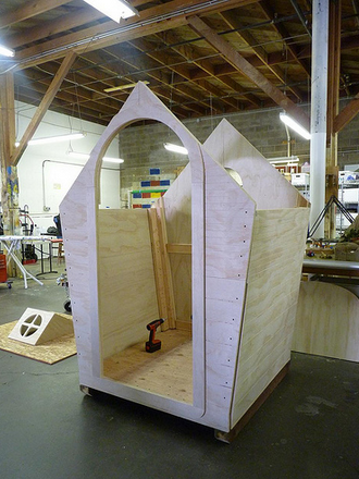 A full-size garden shed in progress