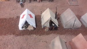 Finished Red Cross tents for model railroad scenery