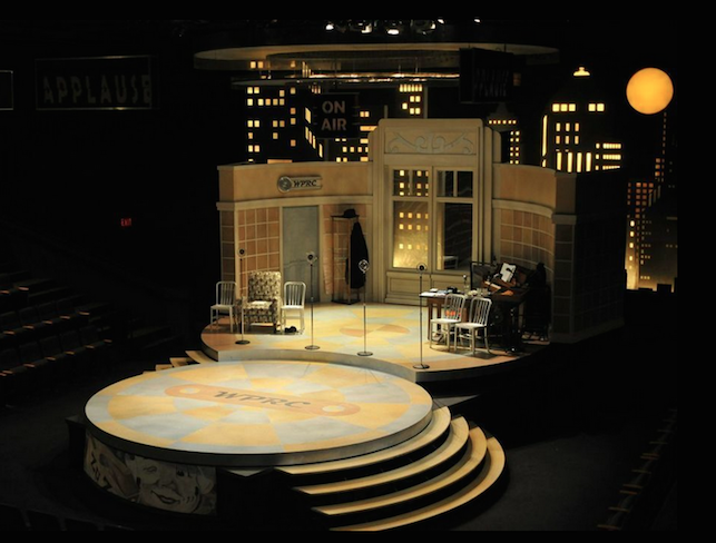 "Set for ""It's a Wonderful Life."" Shopbot was used to cut: step treads, all flooring inlays, ribs for curved walls, the ""WPRC"" wall clock, scroll work above center doors, ceiling units, ""ON AIR"" sign, Sky Scraper light boxes in back and round platforms."