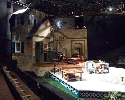 "Set for ""Vanya Sonia Masha and Spike."" Shopbot was used to cut: All rock work, Scroll work molding and cabinet door panels."