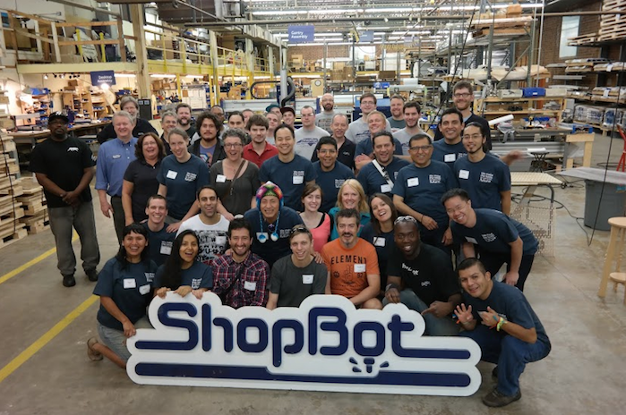 International Fab Lab managers and ShopBot employees gathered on the ShopBot production floor