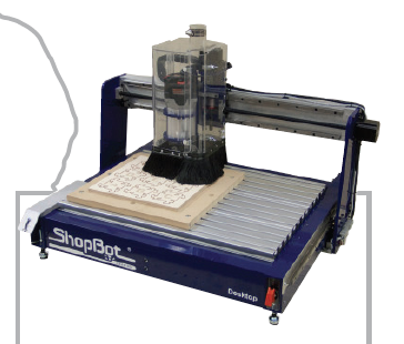 This is a ShopBot® Desktop CNC. Note the ShopBot logo on our distinctive blue edge of the tool.