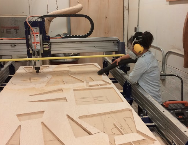 Cutting the pieces on the 96 x 48 ShopBot CNC
