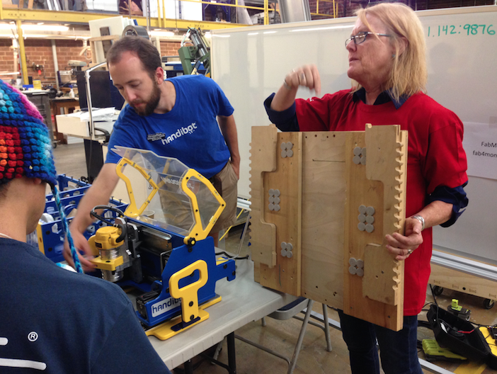 Sallye Coyle demonstrates how a large material jig allows you to work on projects that far exceed the size of the Handibot