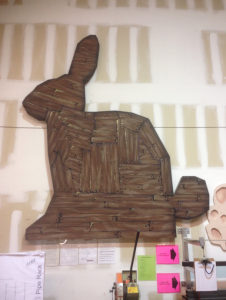 This rabbit was designed and built for a production of Spamalot, and is approximately 12' tall.