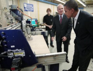 President Obama visited the Lorain Fab Lab in 2010. Here he's introduced to a ShopBot CNC tool by the College President, Dr. Roy A. Church