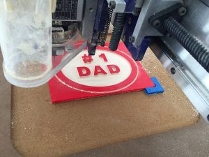 """#1 dad"" sign being cut by shopbot router"