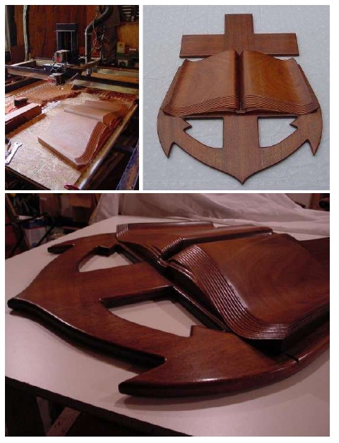 three picture collage of wooden bible anchor carving