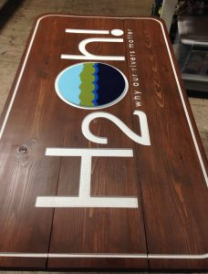 Completed sign for H2O exhibit