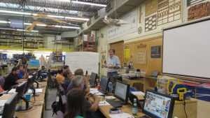 Ted Hall speaking during shopbot training