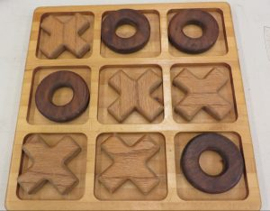 cnc carved wood tic tac toe board and pieces