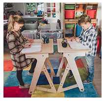 two students at desks