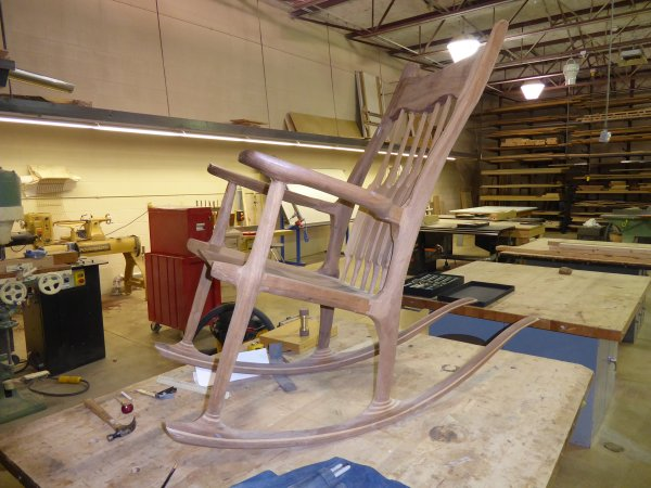 rocking chair in woodshop