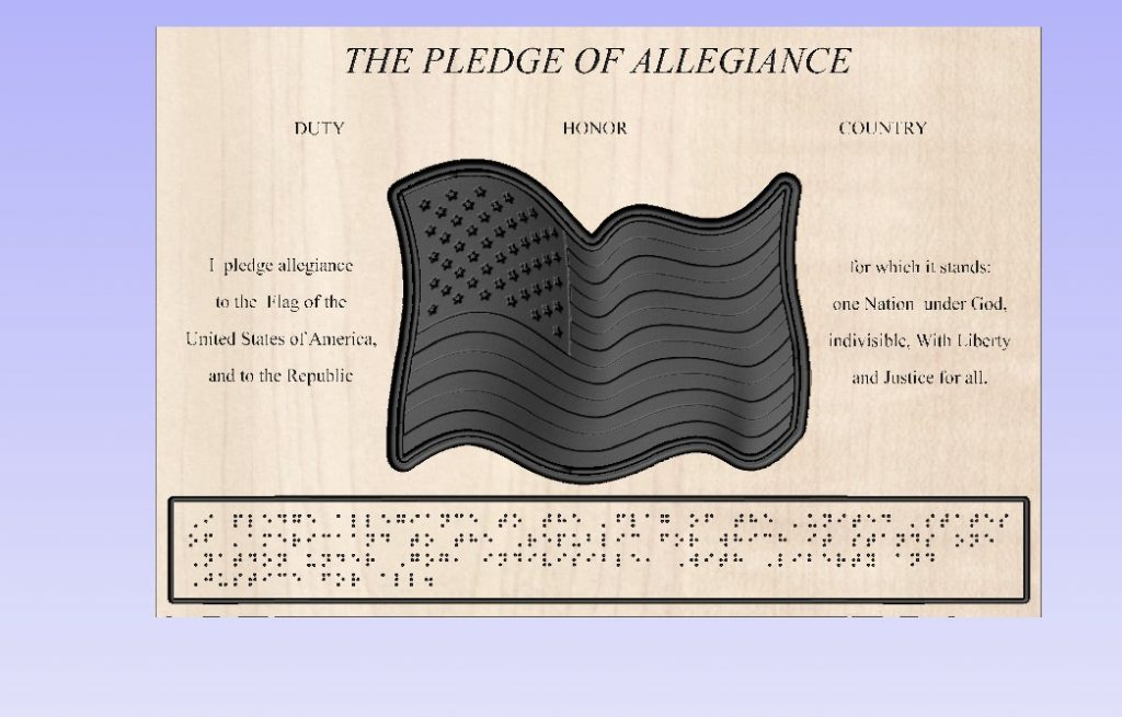american flag plaque with braille