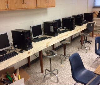 Computer desk built in carpentry class