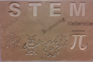 sign designed by Rosman 8th grader and cut on a shopbot