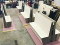 In-shop production and assembly of bar booths.
